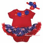 Elegant Garden Rose Queen's Day Red Bodysuit Blue UK Flag Girl Baby Dress NB-18M