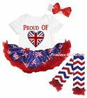 Queen Day Proud of Heart White Bodysuit Blue UK Flag Baby Dress Leg Warmer 0-18M