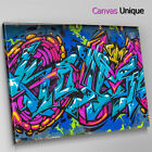 AB1005 Blue Pink Graffiti Urban Abstract Canvas Wall Art Framed Picture Print
