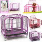 Heavy-Duty Pet Dog Puppy Cage Folding Strong Steel Crate Animal Carrier Wheels