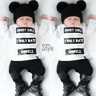 Newborn Baby Girl Boy Kids Clothes Long Sleeve Tops T-shirt +Pants Outfits TXST