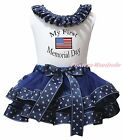 First Memorial Day US Flag White Top Navy Blue Sailor Satin Trim Skirt Girl 0-8Y