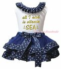 All I Need Is Vitamin Sea White Top Navy Blue Sailor Satin Trim Skirt Girl NB-8Y
