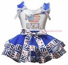 I LOVE USA 4th July White Top Blue USA Flag Satin Trim Skirt Girls Outfit NB-8Y