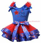 4th July Cutie Blue Top Red USA Hat Balloon Mustache Satin Trim Skirt Girl NB-8Y