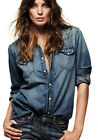 Women Casual Lapel collar Button  wash off Denim Long Sleeve Shirt Blouse