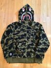 A BATHING APE BAPE BOA SHARK HOODED JACKET GREEN CAMO SZ XXL yellow hoodie black