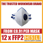 Box Of 12 FFP2 Fold Flat Valved Disposable Dust Masks Respirator EN149 NEW BOXED