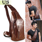 Men's Leather Chest Sling Satchel Shoulder Crossbody Bag Day Pack Purse Backpack