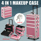 Aluminum 4 in 1 Rolling Makeup Trolley Train Case Box Organizer Salon Cosmetic