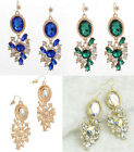 "2.5"" GOLD TONE, BLUE, GREEN OR CLEAR RHINESTONE DROP EARRINGS OVAL DESIGNS"