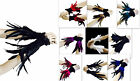 Coque Feather cuff wristbands Gloves black Red  burlesque costume goth cosplay
