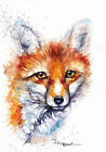 Print or Greeting Card Watercolour Fox by Artist Be Coventry wildlife art