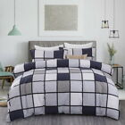 Checked Duvet Doona Quilt Cover Set Single/Double/Queen/King Size Bed Linen New