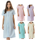 Casual Nights Womens Eyelet Short Sleeve Button Front Nightgown Duster House Dre