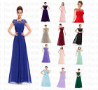 Long Lace Chiffon Evening Formal Party Ball Gown Prom Bridesmaid Dress Size 6-22
