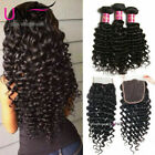 Brazilian Deep Wave Human Hair 3 Bundles With Lace Closure UNice Hair Extensions