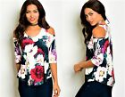 WOMENS LADIES FLORAL CUT OUT COLD SHOULDER PARTY WEDDING TOP SIZE 8 10 12 14 16