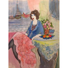 Canvas Painted Oil Painting Wall Itzchak Tarkay lady blue deco no frame 2 sizes