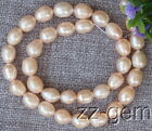 SP0021  Natural 8-9MM pink Rice Freshwater pearl loose Beads 15''