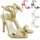 Womens High Heel Sandals Peep Toe Stiletto Ladies Two Part Ankle Strap Shoes 3-8