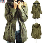 US Womens Drawstring Hoody Jumper Coat Trench Parka Jackets Outwear Army Green
