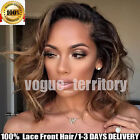 Short Bob Wavy Hair Glueless Lace Front Hair Wigs Ombre Red Black Hair Full Wigs