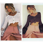 Women Casual Lace Long Sleeve Button Cotton Blouse Speaker Sleeves T-Shirts Tops