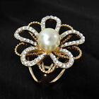 Women Hollow Loop Flower Crystal Scarf Buckle Scarf Clip Ring Gift New UK