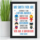 Personalised Superhero Teacher Gifts Keepsake End Of Term Leaving Presents