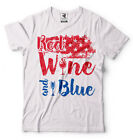 4th of July T-shirt Red Wine And Blue Funny Party Shirt USA  Flag T-shirt
