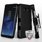 Samsung GALAXY S8 Hybrid Armor Rugged Hard Case Cover Holster Screen BLACK