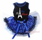 Vive la liberté Tower Bastille Day Black Top Blue Sequins Lace Dog Puppy Dress