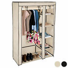 Double fabric wardrobe clothes storage canvas effect cupboard shelves cabinet