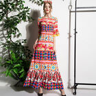 Womens flare sleeve maxi full length runway occident boho long dress floral chic