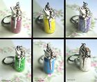 FAIRY DUST GLITTER KEYRING TINKERBELL FAIRY BOTTLE CHARM GLASS PINK GREEN LILAC