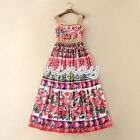 Women Ethnic BOHO Floral Printing Beach Dress Holiday Camisole Casual Party Dres