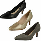 Ladies Clarks Isidora Faye Smart Leather Mid Heel Court Shoes D Fitting