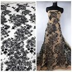 off white/black sequins polyester embroidery lace fabric by yard