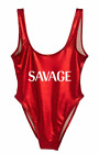 Private Party Women`s Swimwear Metallic Red One Piece SAVAGE Swimsuit NWT