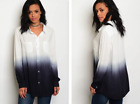 WHITE TO BLACK OMBRE BUTTON FRONT TUNIC BLOUSE (S, M, L)