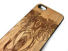 iPhone Case with Real Natural Wood Carved Engraved with Elephant boho design15