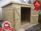 """Timber Tanalised Wooden Garden Shed """" FACTORY SECONDS"""" Pent Treated Double Doors"""
