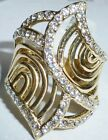 """Cocktail Ring Gold Plated Brass-Top Grade Clear Crystal-1"""" Long-size 8"""