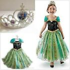 Kids Girls Princess ANNA-Dress FROZEN Queen Cosplay Costume Fancy Dress+Crown&+