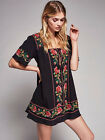 Free People Bohemia sexy embroidery cotton blend mini skirt dress#5015
