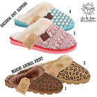 Ladies Womens Fur Lined Slippers Winter Warm Cosy Mules Non Slip Rubber Sole