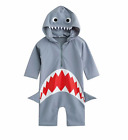 Внешний вид - Shark Rash Guard One Piece Toddler Boys Hodded 3/4 Length Sleeves 2T to 6T