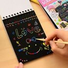 Rainbow Paper Scratch Off Colour Sketchbook Art Crafts Kids Drawing notebook pad
