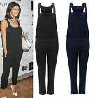 UK Womens Ladies Vintage Dungaree Jumpsuit Full Length Pinafore Pockets Overall